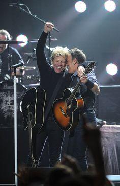 Bruce Springsteen & Jon Bon Jovi at 12-12-12 Sandy relief concert at Madison Square Garden