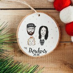 Minimalist Custom Family Wood Slice Ornament Custom Family | Etsy Family Painting, Family Illustration, Christmas Tree, Christmas Ornaments, Wood Slices, Custom Wood, I Am Happy, Twine, Give It To Me