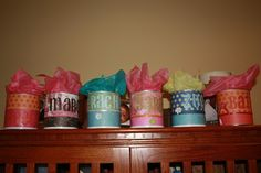 Repurposed formula cans Maybe use for gifts or goody containers for Dax's 1st b-day party??
