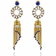 Rani Earrings http://blossomboxjewelry.com/e1324.html #jewelry #indian #fashion #gold #blue #bollywood #designer #earrings