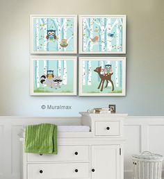 Owl Nursery Art Print Baby Wall Decor Hot Pink And Aqua Room Grandbaby Pinterest