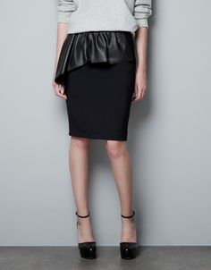 TUBE SKIRT WITH LEATHER FRILL - Woman - New this week - ZARA Germany