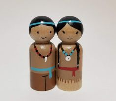 Native American Boy and Girl Peg Dolls, Thanksgiving Toy, Hand Painted Wooden Peg Dolls, Native American Play set Pinecone Crafts Kids, Pine Cone Crafts, Cork Crafts, Crafts For Kids, Thanksgiving Crafts, Wood Peg Dolls, Clothespin Dolls, Pilgrims And Indians, Imagination Toys