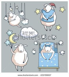 Cute cartoon sheep in vector. sleep party