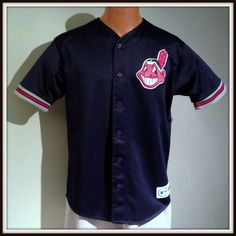 CLEVELAND INDIANS MAJESTIC EMBROIDERED ADULT LARGE BUTTON DOWN JERSEY FREE SHIP #Majestic #ClevelandIndians