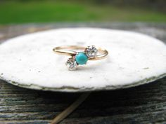 Sweet Antique Victorian 14K Gold  Diamond and Turquoise Ring - Old Mine Cut Diamonds - Lovely Condition. $299.00, via Etsy.