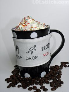 Stop Drop ROFL Coffee Cozy  Hand Embroidered  by LOLstitch on Etsy, $17.00