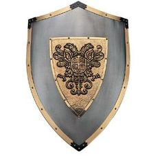 This medieval Charles shield is a a very high quality reproduction. It is historically accurate and features a richly embossed and designed front made of real brass and lined with brass, accenting the entire shield.