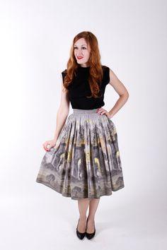 50s Vintage Skirt Novelty Print Cotton 1950s by stutterinmama, $54.00