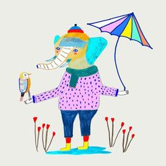 Elephant and bird with umbrella. children's illustration art print by Ashley Percival. Kids Prints, Free Prints, Elephant Illustration, Illustration Art, Animal Illustrations, Art Wall Kids, Art For Kids, Wall Art, Look At My
