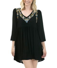 Another great find on #zulily! Bow + Arrow Black Floral-Embroidered Empire-Waist Dress by Bow + Arrow #zulilyfinds