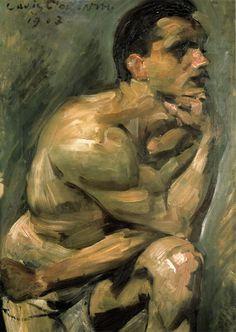 Lovis Corinth Männlicher Halbakt, oil on canvas, 89 × 59 cm Landesmuseum Mainz Guy Drawing, Life Drawing, Painting & Drawing, Hans Holbein, Ludwig Meidner, George Grosz, Degenerate Art, Queer Art, Art Of Man