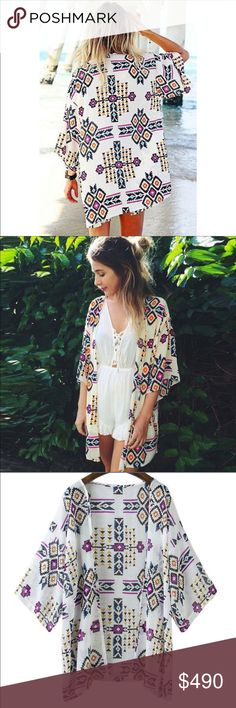 🎉Host Pick💜Aztec Print Kimono💜 Beautiful Aztec Print Kimono Material: Chiffon Tag Size: S, Bust: 114cm (44.9in), Length: 73cm (28.7in), Shoulder: 49cm (19.3in), Sleeve: 39cm (15.4in) Tag Size: M, Bust: 119cm (46.9in), Length: 75cm (29.5in), Shoulder: 50cm (19.7in), Sleeve: 40cm (15.7in) Tag Size: L, Bust: 124cm (48.8in), Length: 77cm (30.3in), Shoulder: 51cm (20.1in), Sleeve: 41cm (16.1in) Tag Size: XL, Bust: 128cm (50.4in), Length: 78cm (30.7in), Shoulder: 52cm (20.5in), Sleeve: 42cm…