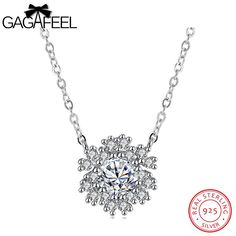 Real Solid 925 Sterling Silver Necklaces Silver 925 Jewelry Chokers Necklaces For Women Snowflake Pendant Necklaces Gifts Gifts For Girls, Sterling Silver Necklaces, 925 Silver, Pendants, Pendant Necklace, Diamond, Accessories, Chokers, Jewelry