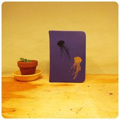 Leather Journal - Jellyfish - Travel journal - Purple leather - Bound - Blank book - Notebook - Recycled Paper