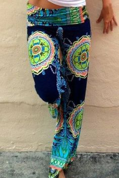 Stylish Mid-Waisted Printed Loose-Fitting Women's Exumas Pants Pants | RoseGal.com Mobile