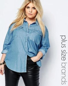 185606bed7f Boohoo Plus Denim Shirt Plus Size Clothing Sale