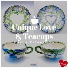 Zum Valentinstag: einzigartige Tassen-Unikate! Jedes Stück ein Einzelstück - weltweit! Love S, Tea Cups, Plates, Tableware, Happy, Unique, Velentine Day, Licence Plates, Dishes