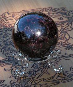 Almandine Garnet Crystal Ball . White Magick Alchemy Crystals