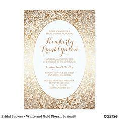 Bridal Shower - White and Gold Floral Vintage Card Bridal shower invitation with white and gold floral decor