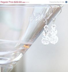Dangle Earrings, Clear White Crystal Earrings, Crackled Glass Balls, Frozen Ice, Sterling Silver, Made in Canada on Etsy, $22.00