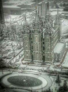Salt Lake City Utah LDS temple in winter... ❤