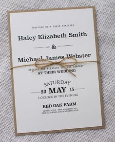 Modern Rustic Wedding Invitation Rustic Chic by LoveofCreating