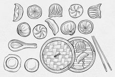 This collection contains 23 hand drawn graphic illustrations. Perfect for prints, logos, menu templates, patterns and much more. Dumpling Kitchen, Cctv Security Systems, Food Doodles, Food Patterns, Korean Food, Chinese Food, Logo Food, Painted Paper, Pattern Illustration