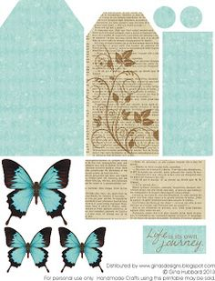 Gina's Designs: Freebie Friday - Butterfly Tag - love the colors on the butterflies - she made a tag using the butterfly and layered it with glitter - pretty - bjl Printable Labels, Printable Paper, Free Printables, Paper Tags, Journal Cards, Junk Journal, Vintage Tags, Free Prints, Card Tags