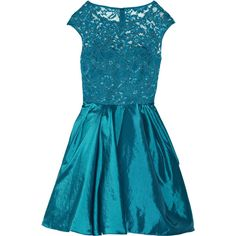 Notte by Marchesa Lace and taffeta dress (4,965 MXN) ❤ liked on Polyvore featuring dresses, short dresses, vestidos, teal, lace cocktail dress, short lace dress, short blue dresses e lace dress
