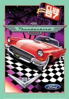Ford Thunderbird Club 57 Car Placa de lata
