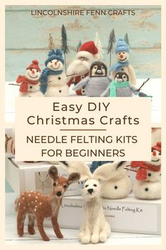 There's nothing better than a handmade Christmas gift or decoration. These festive needle felted snowmen needle felting kits are easy to learn with no sewing or tricky patterns. Every craft kit from Lincolnshire Fenn Crafts comes with everything you need to complete the project from start to finish and, with forty craft kits to choose from, there's something for everyone! happy creating. #lincolnshirefenncrafts Needle Felting Kits, Needle Felting Tutorials, Wool Felting, Needle Felted Animals, Felt Animals, Creative Christmas Gifts, Handmade Christmas Gifts, Holiday Crafts, Christmas Diy