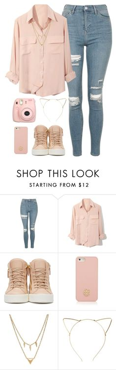 """Tan/Pink"" by alexa432 ❤ liked on Polyvore featuring Topshop, Giuseppe Zanotti, Tory Burch, Edge of Ember, BP. and Fujifilm"