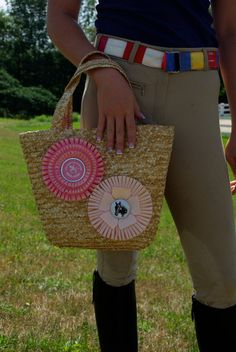 Great idea for using old horse show ribbons