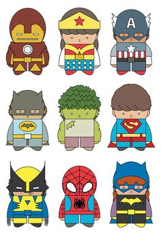 Cute Kids as Superheroes images...cut apart for a memory game.