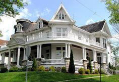 1885 Victorian Philipsburg, Pennsylvania. I looooooooooooooove the wrap around balcony, my dream come true!!!