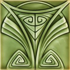 Art Nouveau Designs | 441 german tile stylized art nouveau design under a multi toned green ...