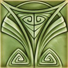 Art Nouveau Designs | 441 german tile stylized art nouveau design under a multi toned green ...