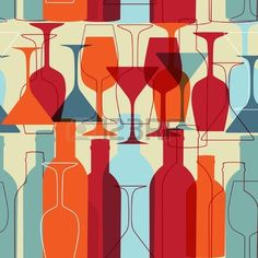 Seamless background with wine bottles and glasse