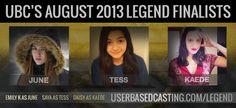 UBC Finalists for Marie Lu's Legend. userbasedcasting.com/legend