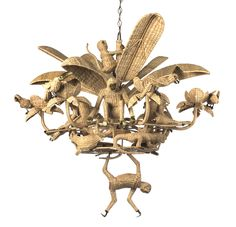 Chandelier from Casa Lopez This fantastical handmade rattan chandelier from Pierre Sauvage's Parisian boutique features birds, crocodiles, and monkeys nestled among palms and plants.