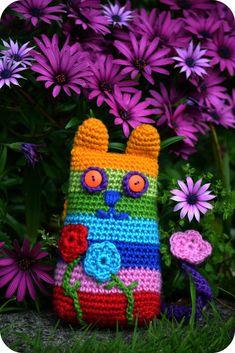 Crochet Cat 9 Diy Crochet Cat, Gato Crochet, Crochet Cat Pattern, Crochet Amigurumi, Love Crochet, Crochet For Kids, Amigurumi Patterns, Crochet Crafts, Crochet Dolls