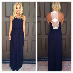 Marks the Spot Maxi Dress - NAVY. Gorgeous, but I'm not sure about the waistband.