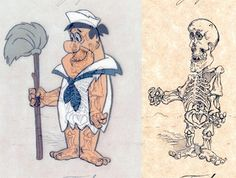 Fred Flintstone Skeleton. Series of clever illustrations by Michael Paulus shows realistic skeletons of fictional characters from popular cartoons and comic books. Detailed skeletons of cartoon characters with accurate bone structures.