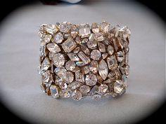 Crystal Mosaic Cuff Bracelet  Swarovski Crystal  by thecrystalrose, $120.00