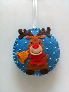 Reindeer Christmas ornament, Reindeer ornament, Rudolph the red nosed reindeer, Felt Christmas ornament, Tree decoration, Xmas ornaments