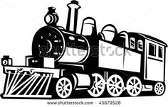 vector illustration of a vintage steam train done in black and white #train #retro #illustration