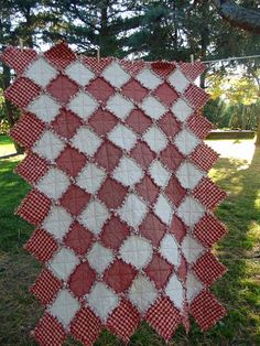 Candy Cane Christmas Rag Quilt  Throw size by TheLaughingBlackbird, $125.00