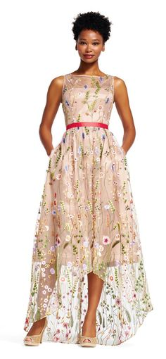 Adrianna Papell | Floral Embroidered High Low Dress with Sheer Skirt