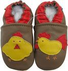 carozoo rooster hen brown 6-12m soft sole leather baby shoes